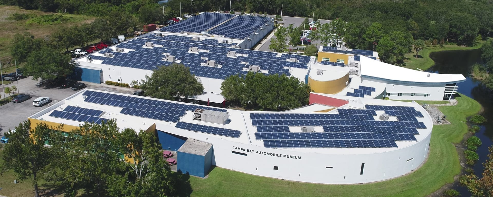 Arial view of Polypack solar powered facility