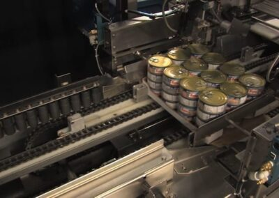 Cans stacked in a tray